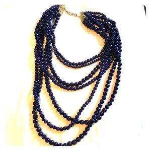 Navy Multi-Strand Beaded Statement Necklace